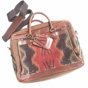 Pendleton aztec patterned leather wool bag NOTES
